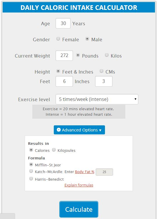 nutrition calculator for weight loss